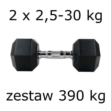 Zestaw hantli hex 2 x 2,5-30 kg (390 kg)