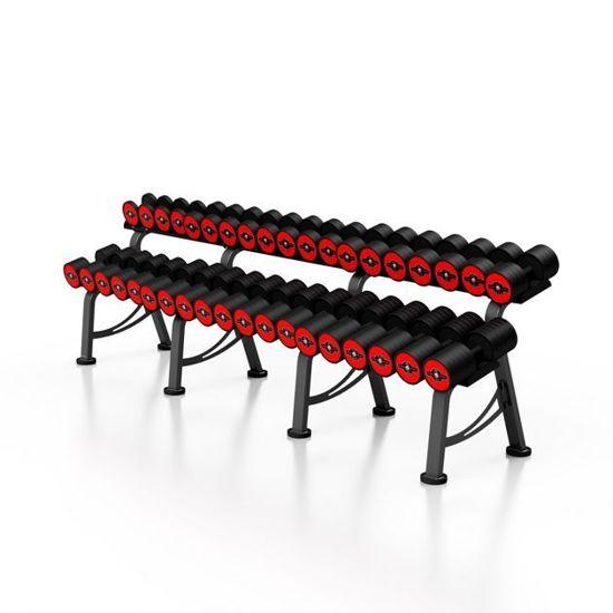 Zestaw hantli żeliwnych gumowanych 5-50 kg ze stojakiem Marbo - czerwone